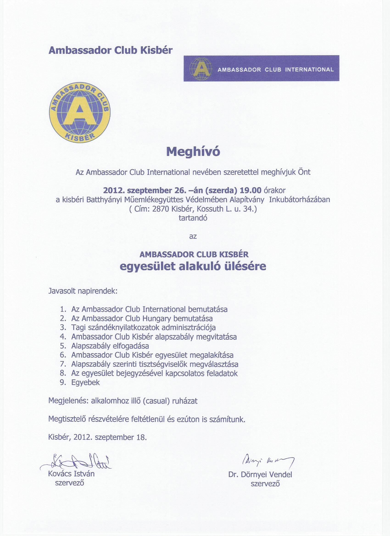 Ambassador Club Kisbér - meghívó alakuló ülésre