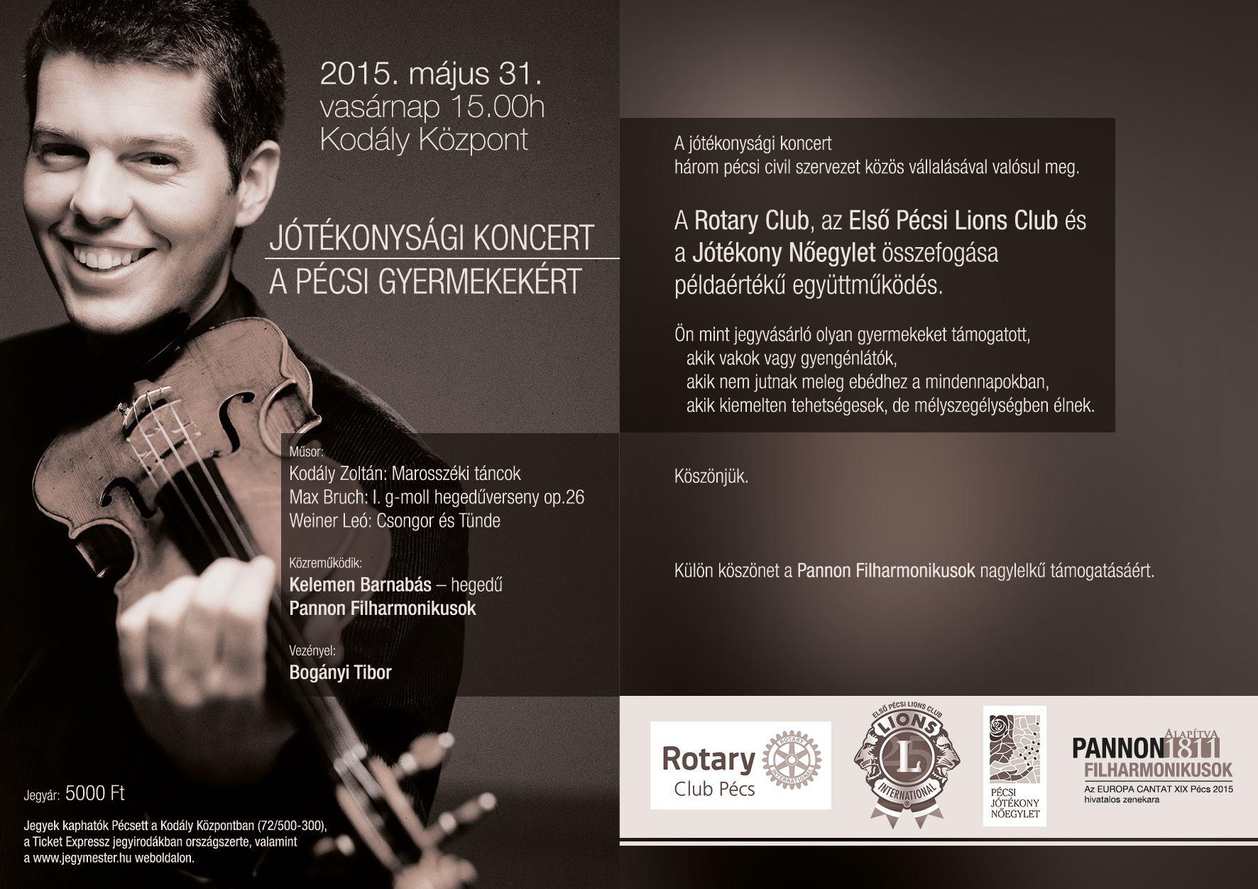Ambassador Club Pécs - meghívó a pécsi Rotary Klubtól jótékonysági koncertre