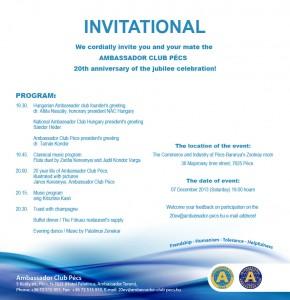 Ambassador Club Pécs 20 years - Invitational