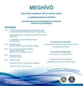 Ambassador Club Pécs 20 év - jubileumi meghívó