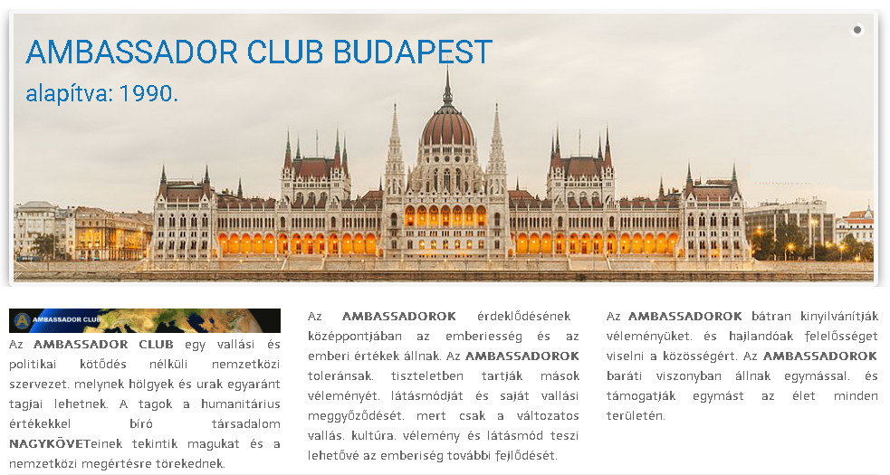 Ambassador Club Budapest - alapítva: 1990.